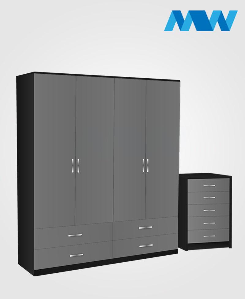 Aurora 2 Piece 4 Door Wardrobe Set With 4 Drawers grey and black