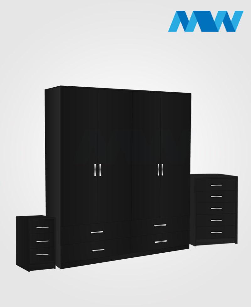 Aurora 3 Piece 4 Door Wardrobe Set With 4 Drawers black
