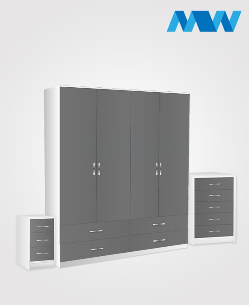 Aurora 3 Piece 4 Door Wardrobe Set With 4 Drawers grey and white