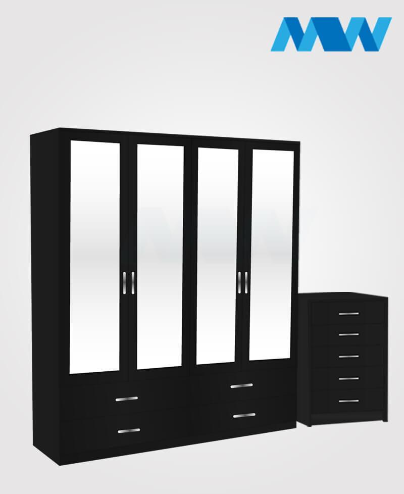 Aurora 2 Piece 4 Door Wardrobe Set With 4 Mirrors & 4 Drawers Set black