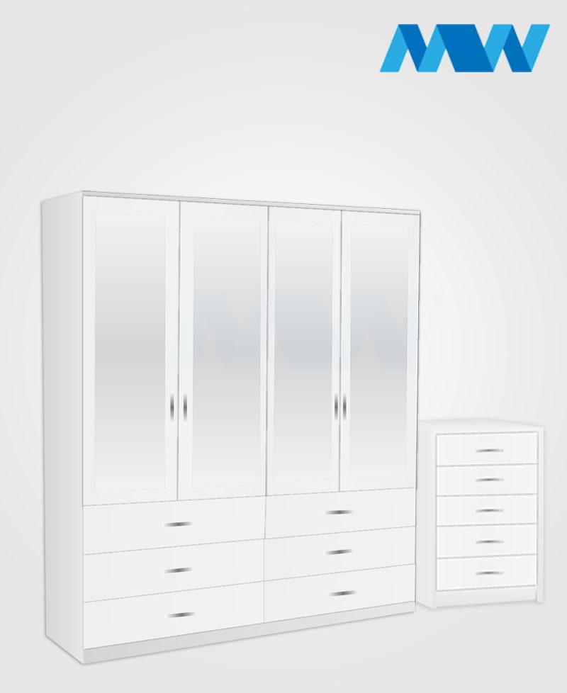 Aurora 2 Piece 4 Door Wardrobe Set With 4 Mirrors & 4 Drawers Set white