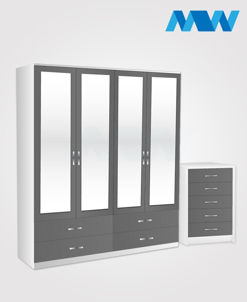 Aurora 2 Piece 4 Door Wardrobe Set With 4 Mirrors & 6 Drawers Set white and grey