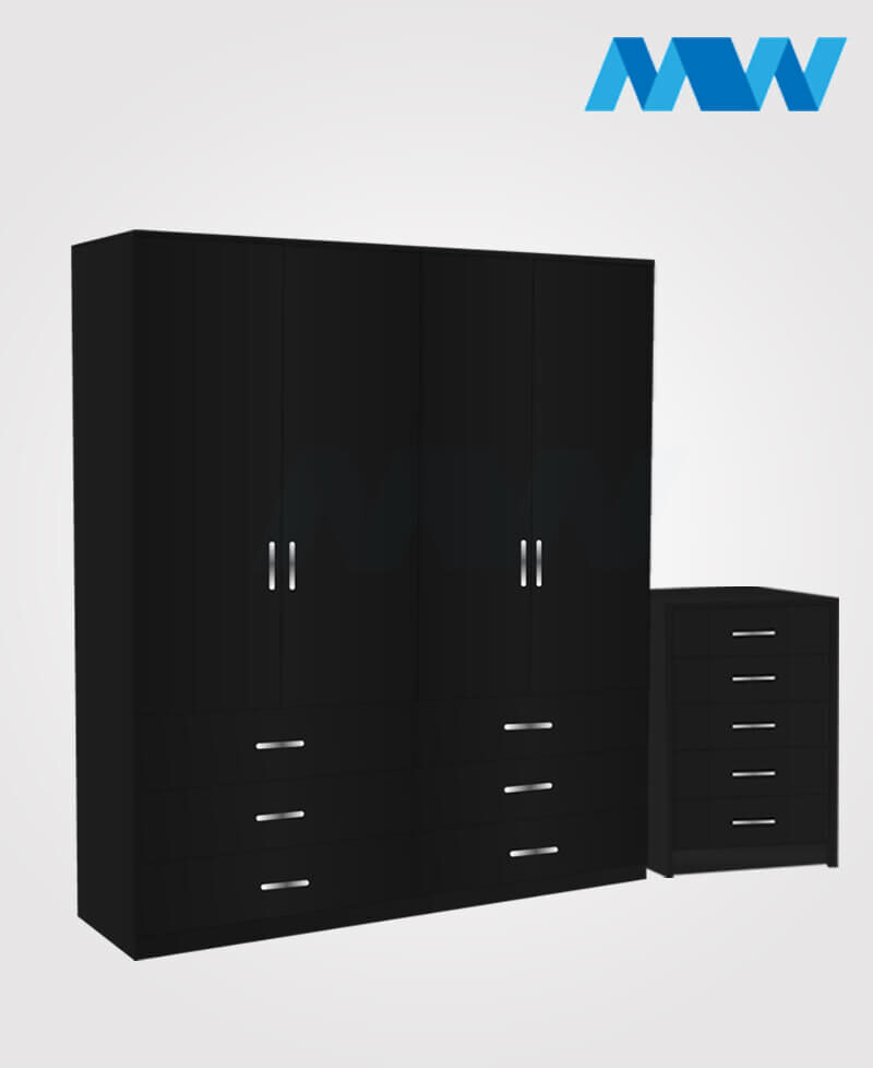 Aurora 2 Piece 4 Door Wardrobe Set With 6 Drawers black