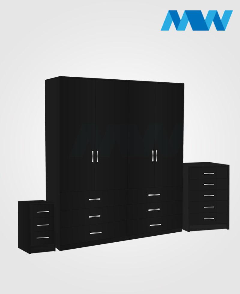 Aurora 3 Piece 4 Door Wardrobe Set With 6 Drawers black