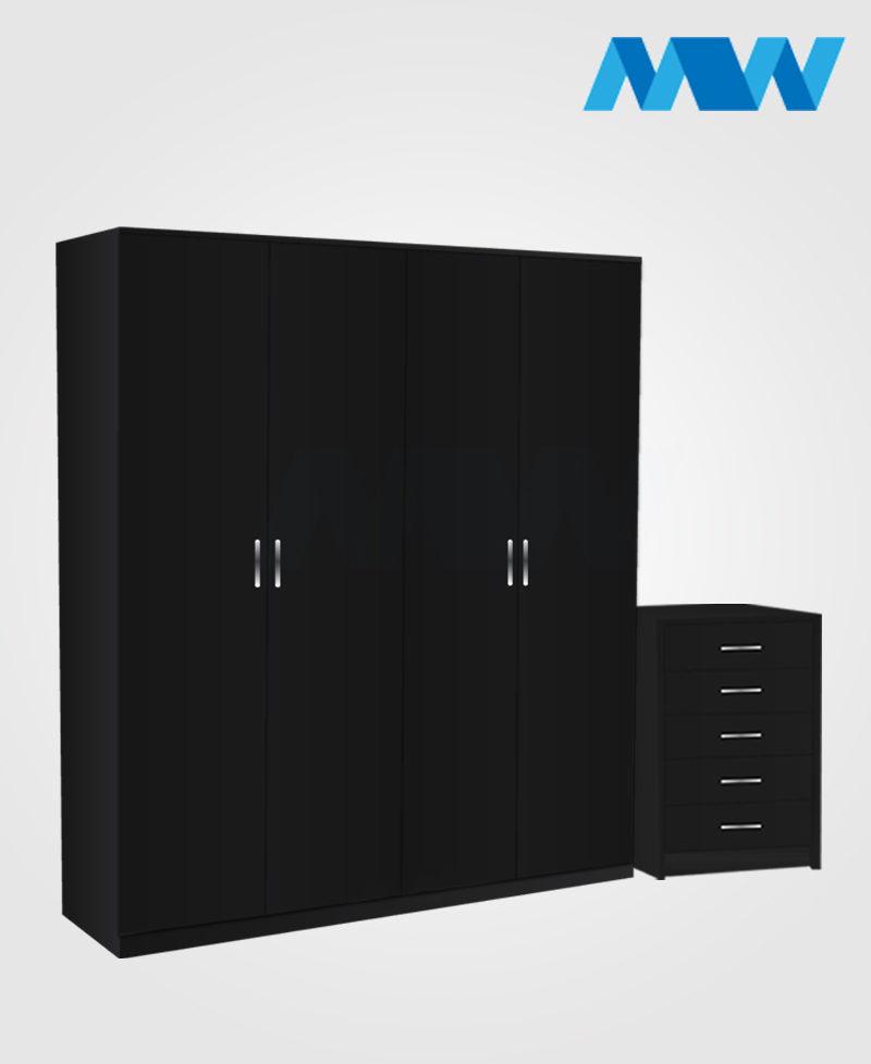 Aurora 2 Piece 4 Door Plain Wardrobe Set black