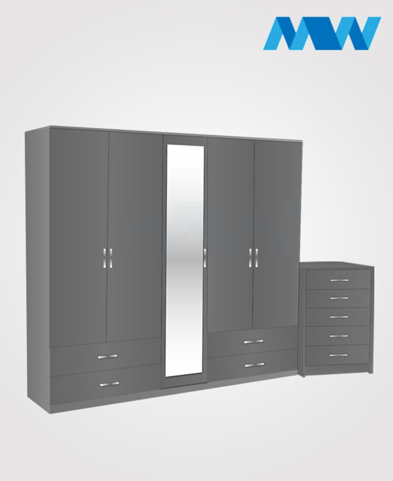 Apex 2 Piece 5 door wardrobe set with 1 mirror and 4 drawers grey