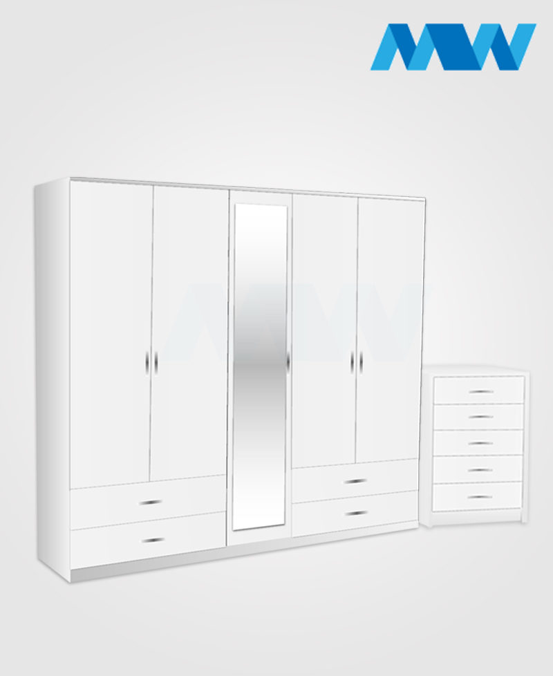 Apex 2 Piece 5 door wardrobe set with 1 mirror and 4 drawers white