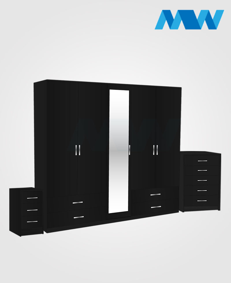 Apex 3 Piece 5 door wardrobe set with 1 mirror and 4 drawers black
