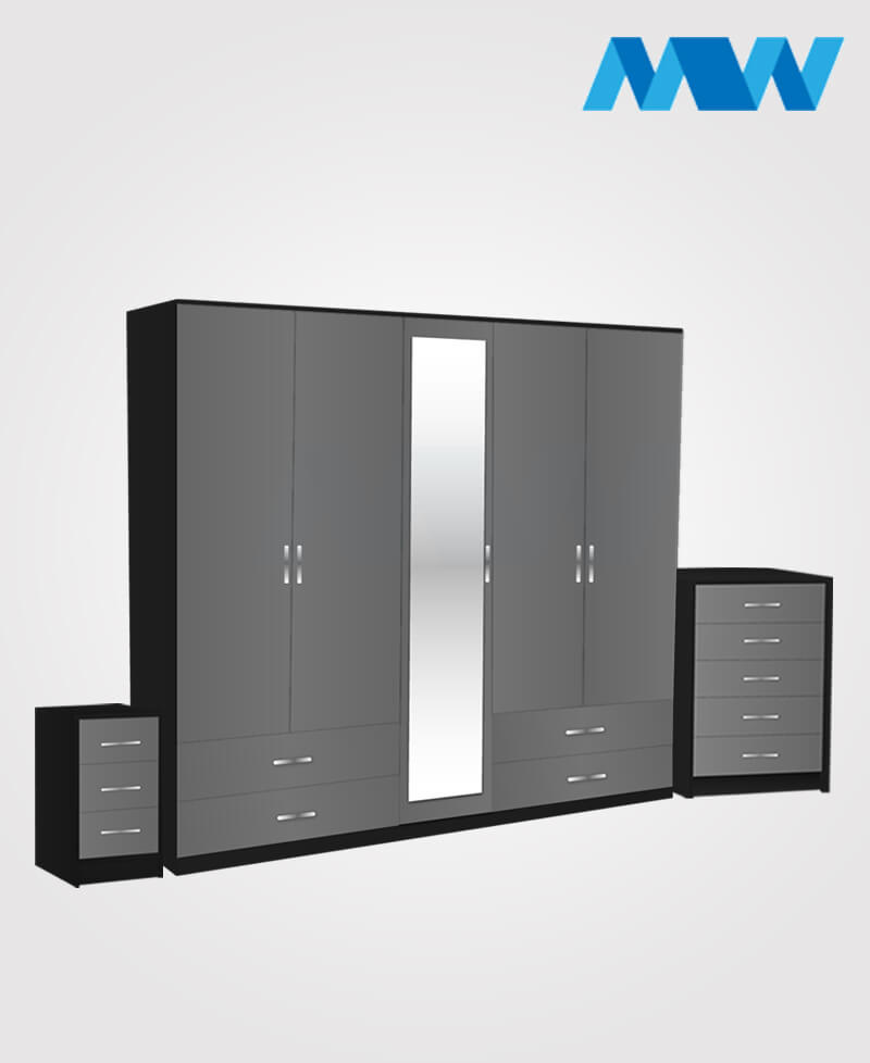 Apex 3 Piece 5 door wardrobe set with 1 mirror and 4 drawers grey and black