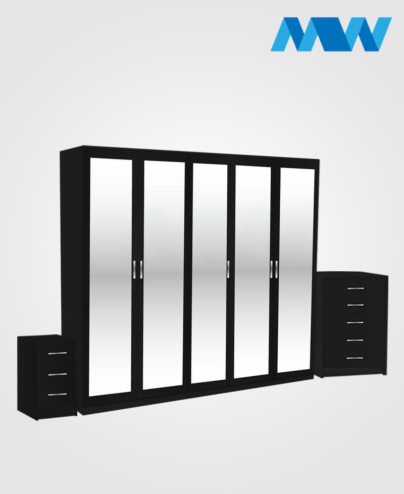 Apex 3 Piece 5 Door Mirrored Wardrobe Set black