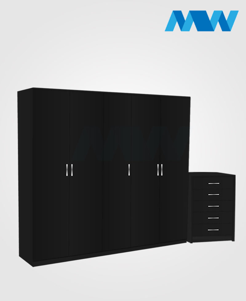 Apex 2 Piece 5 Door Plain Wardrobe Set black