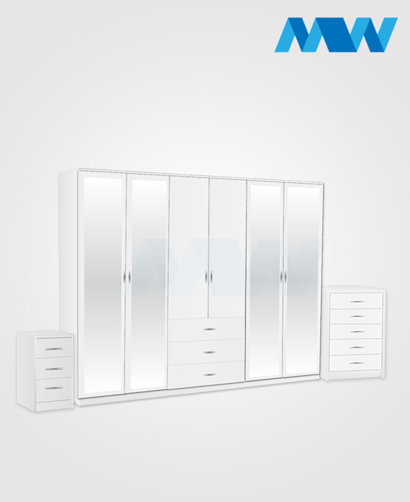 Alliance 3 Piece 6 Door Wardrobe Set With 4 Mirrors & 3 Drawers white