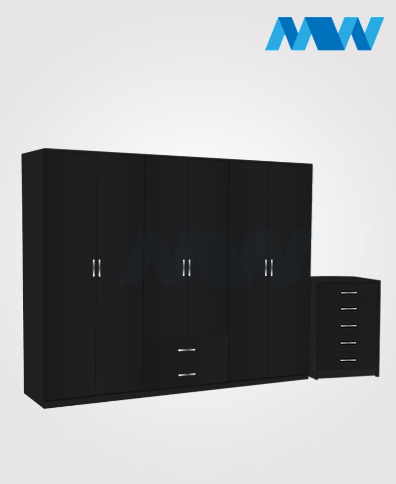 Alliance 2 Piece 6 door wardrobe set with 2 drawers( black