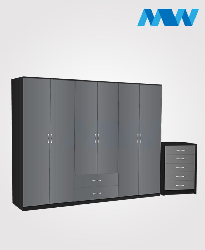Alliance 2 Piece 6 door wardrobe set with 2 drawers(grey and black