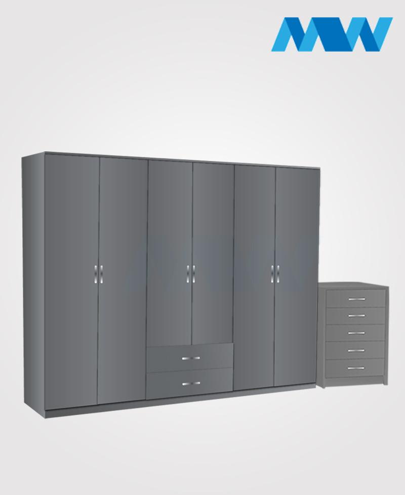 Alliance 2 Piece 6 door wardrobe set with 2 drawers( grey