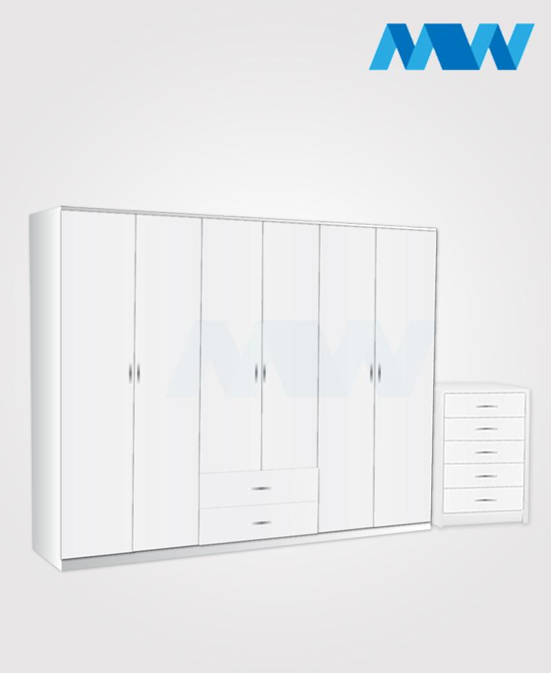 Alliance 2 Piece 6 door wardrobe set with 2 drawers( white
