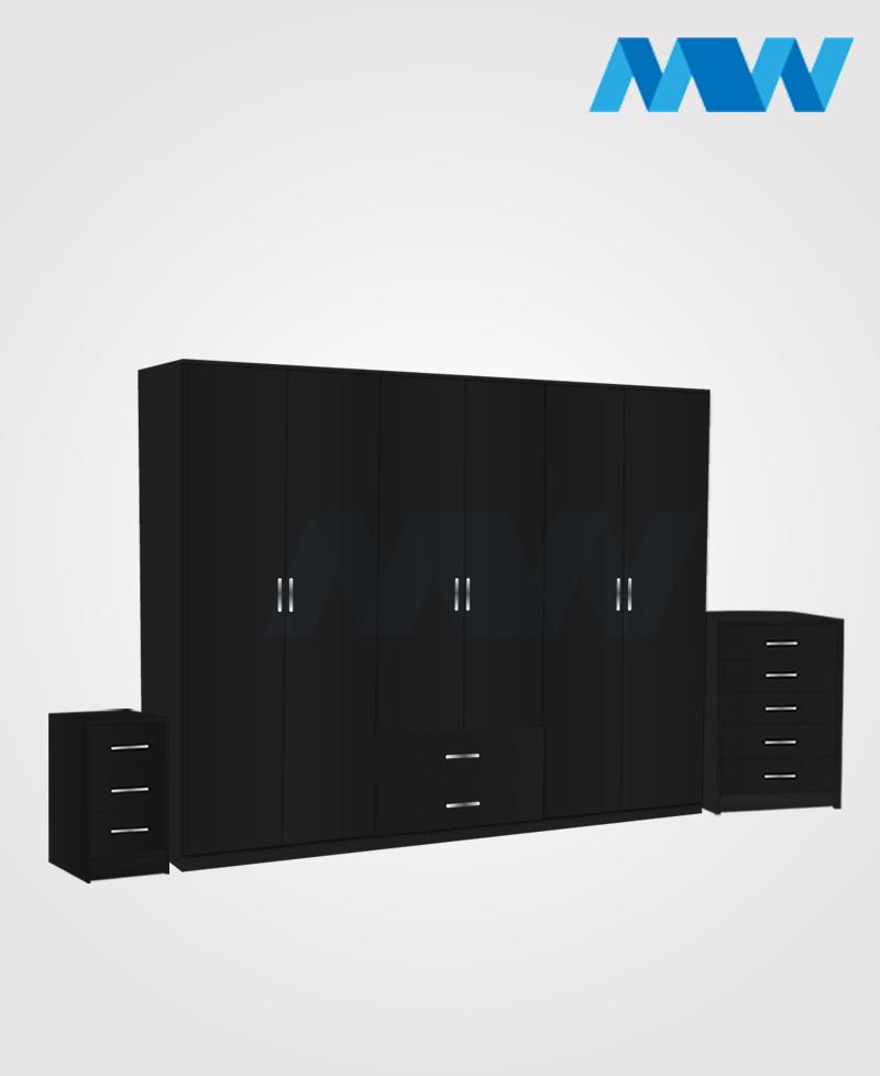 Alliance 3 Piece 6 door wardrobe set with 2 drawers black