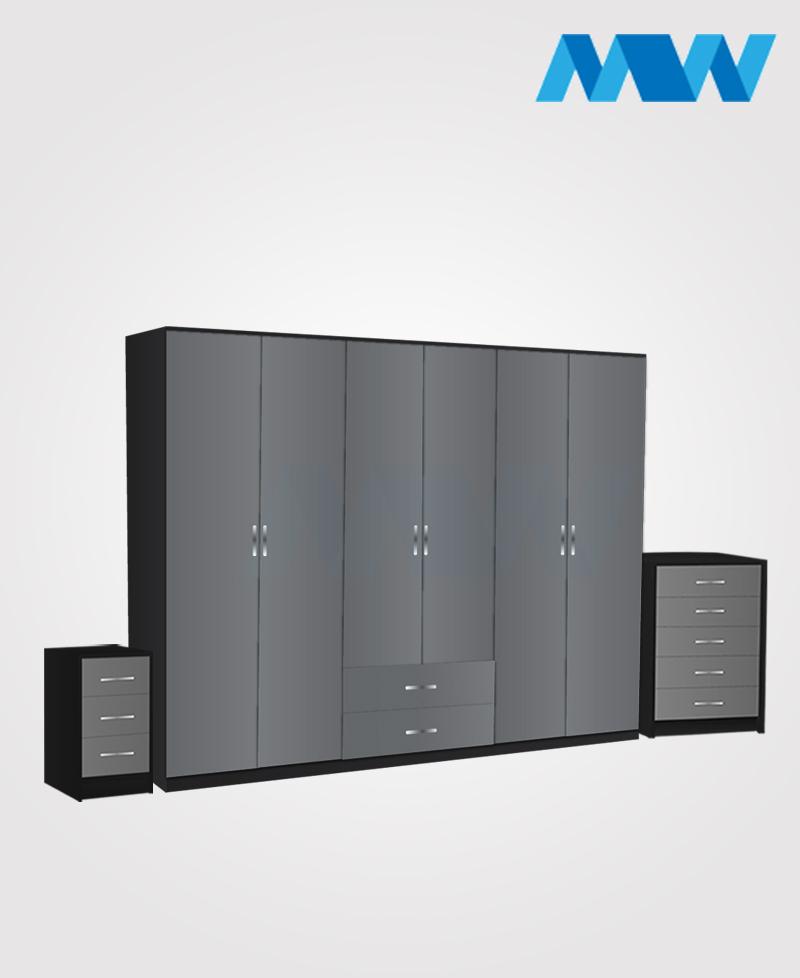 Alliance 3 Piece 6 door wardrobe set with 2 drawers grey and black