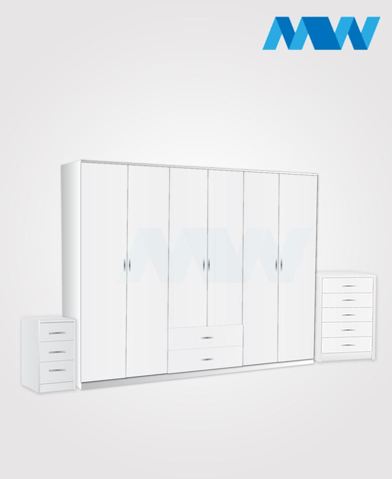Alliance 3 Piece 6 door wardrobe set with 2 drawers white