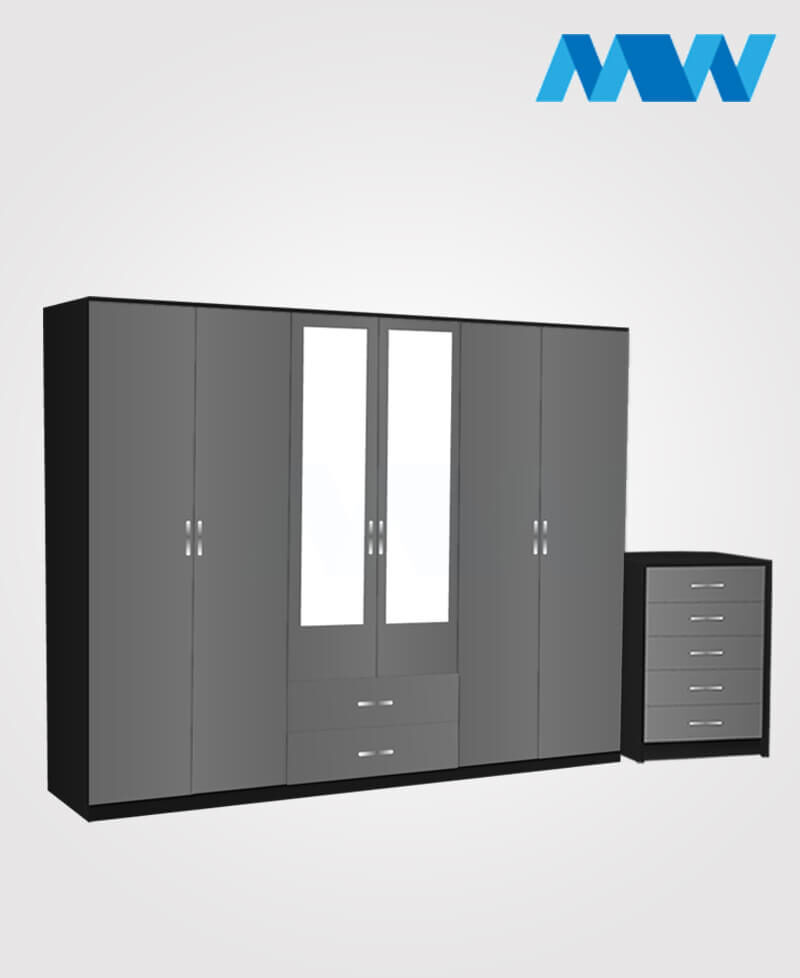 Alliance 2 Piece 6 Door Wardrobe Set With 2 Mirrors & 2 Drawers black and grey