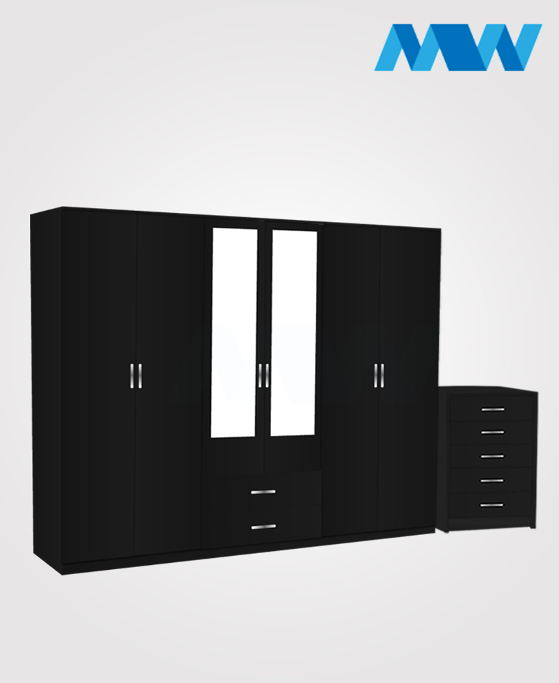 Alliance 2 Piece 6 Door Wardrobe Set With 2 Mirrors & 2 Drawers black