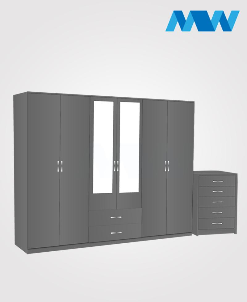 Alliance 2 Piece 6 Door Wardrobe Set With 2 Mirrors & 2 Drawers grey