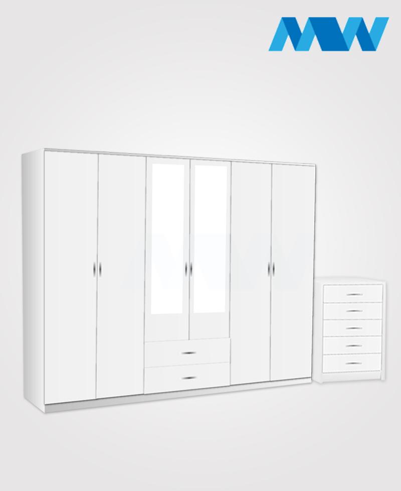Alliance 2 Piece 6 Door Wardrobe Set With 2 Mirrors & 2 Drawers white