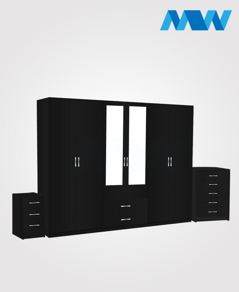 Alliance 3 Piece 6 Door Wardrobe Set With 2 Mirrors & 2 Drawers black
