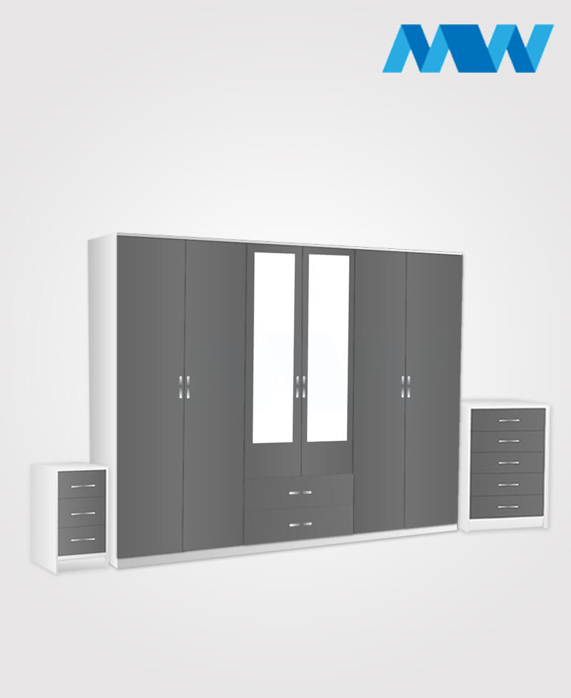 Alliance 3 Piece 6 Door Wardrobe Set With 2 Mirrors & 2 Drawers grey and white