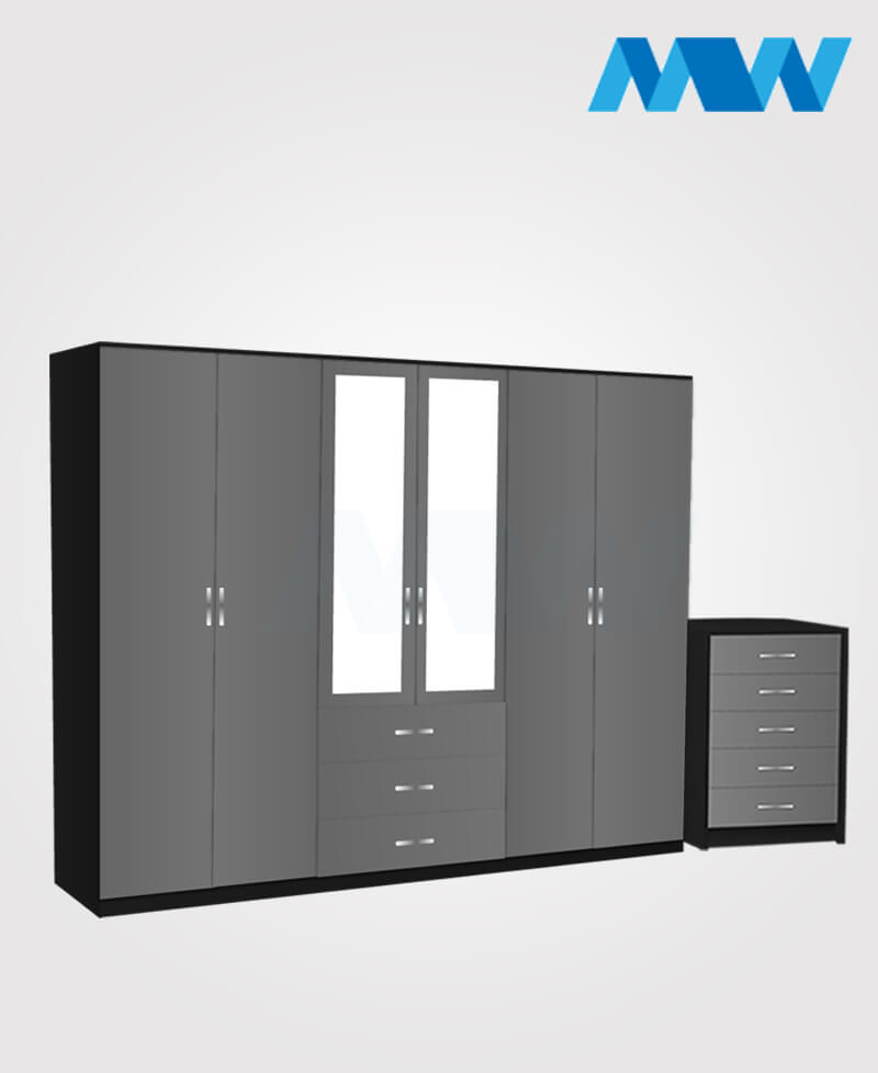 Alliance 2 Piece 6 Door Glossy Mirrored Wardrobe With 3 Drawers grey and black