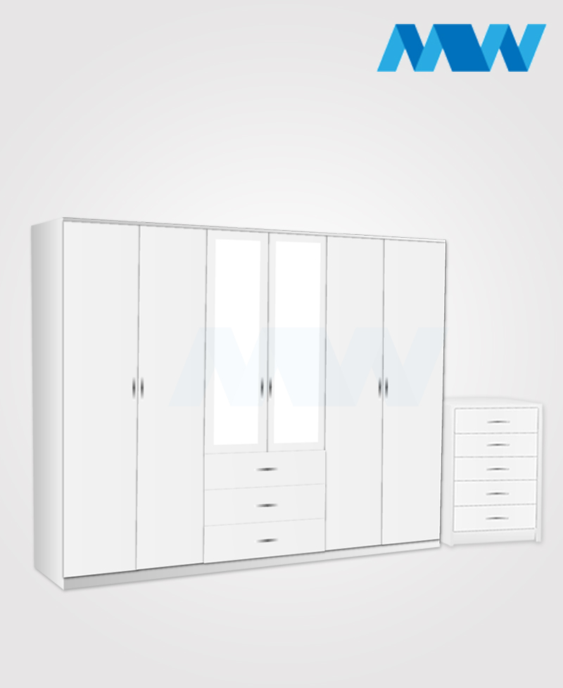 Alliance 2 Piece 6 Door Glossy Mirrored Wardrobe With 3 Drawers white