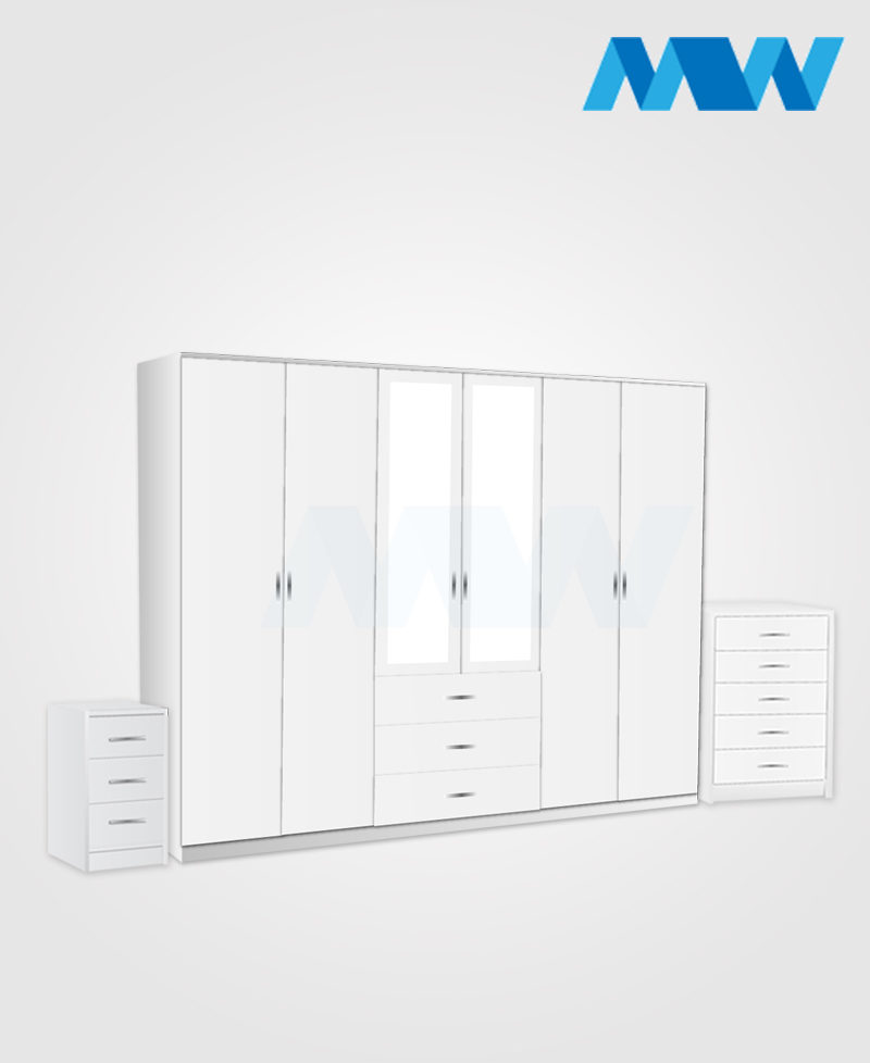 Alliance 3 Piece 6 Door Glossy Mirrored Wardrobe With 3 Drawers white