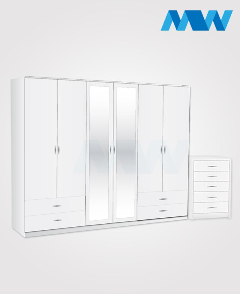Alliance 2 Piece 6 Door Wardrobe Set With 2 Mirrors & 4 Side Drawers  white
