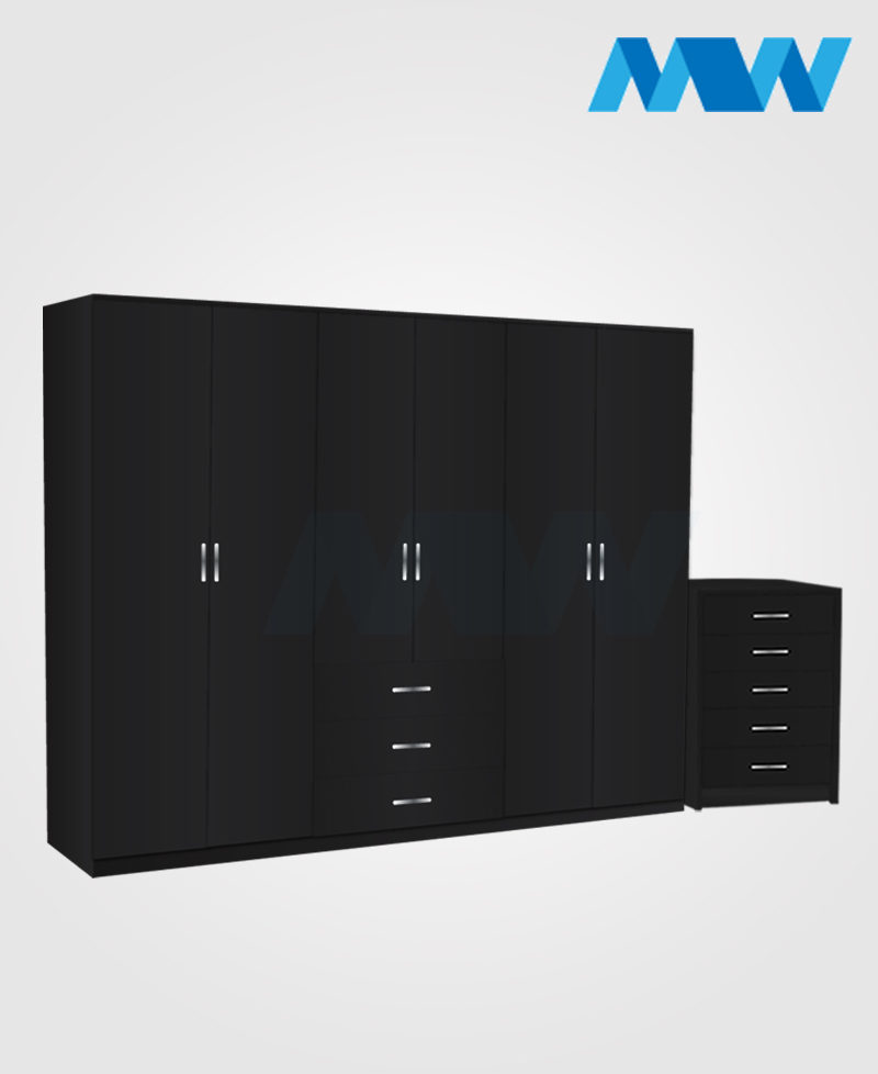 Alliance 2 Piece 6 Door Wardrobe Set With 3 Drawers black