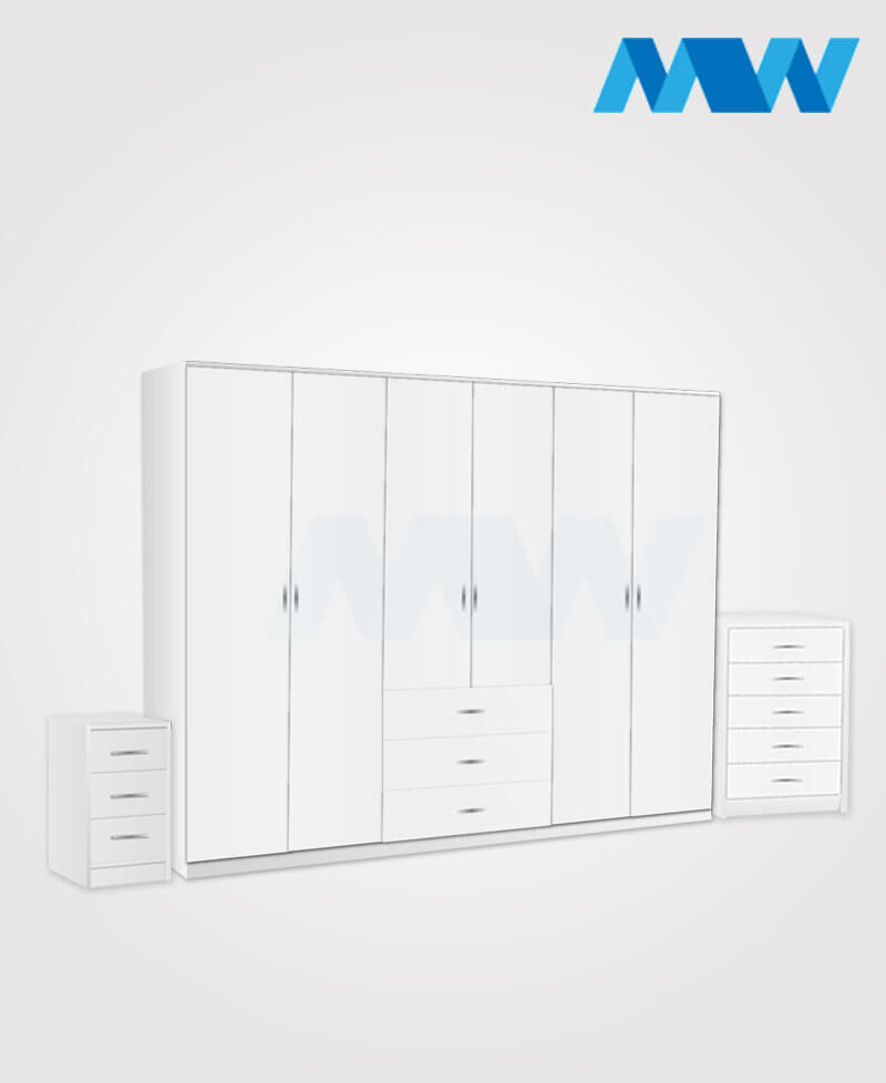 Alliance 3 Piece 6 Door Wardrobe Set With 3 Drawers white