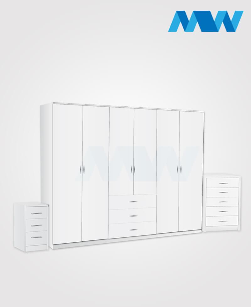 Alliance 3 Piece 6 Door Wardrobe Set With 3 Drawers white