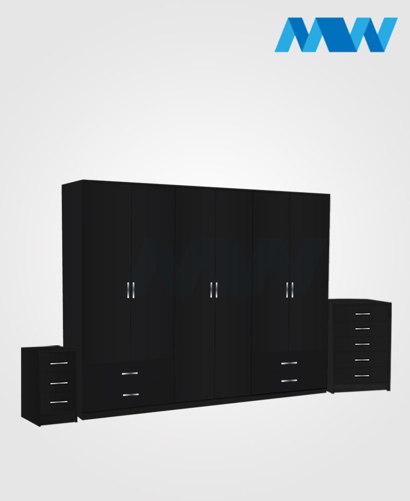 Alliance 3 Piece 6 door wardrobe set with 4 side drawers black