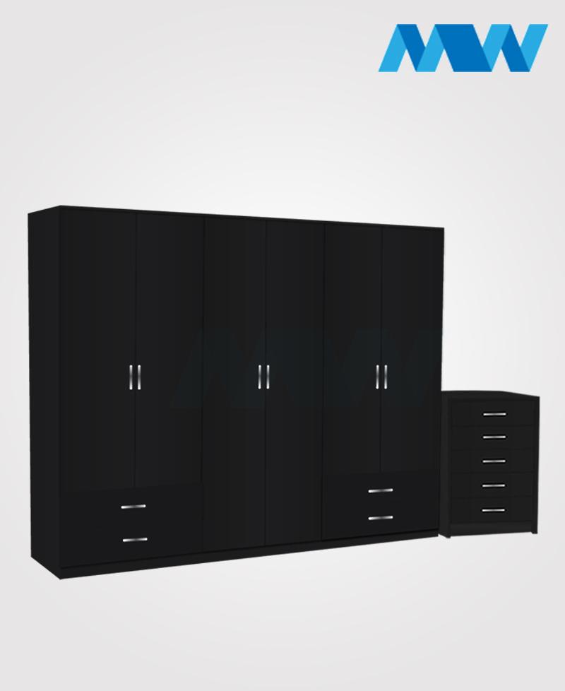 Alliance 2 Piece 6 door wardrobe set with 4 side drawers  black