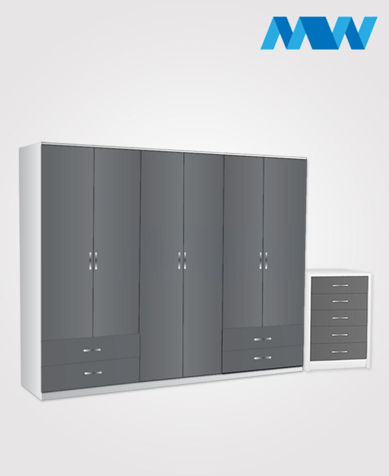 Alliance 2 Piece 6 door wardrobe set with 4 side drawers grey adn white