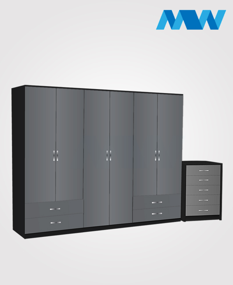 Alliance 2 Piece 6 door wardrobe set with 4 side drawers grey and black
