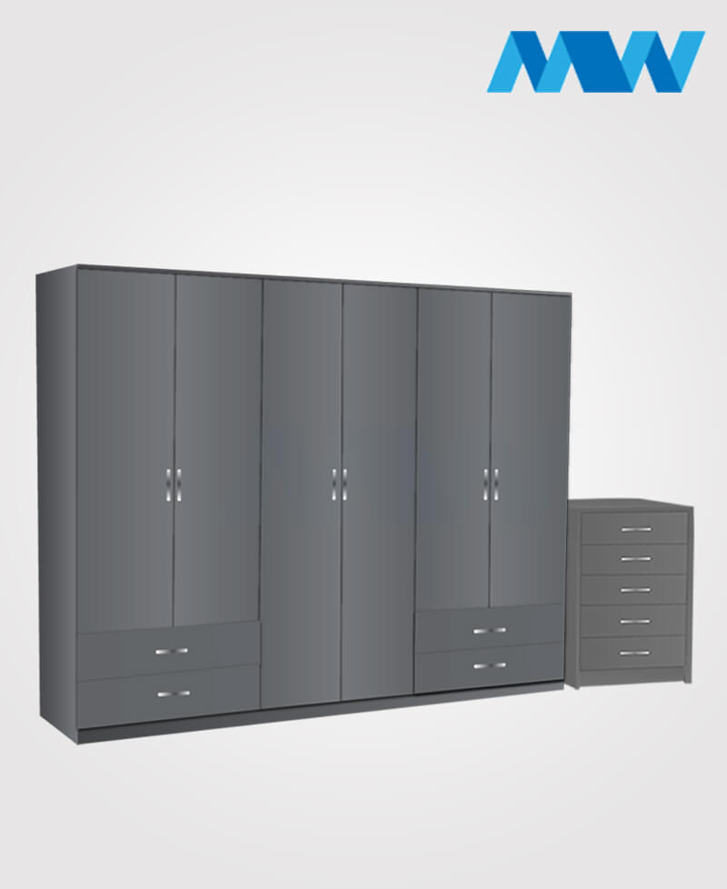 Alliance 2 Piece 6 door wardrobe set with 4 side drawers  grey
