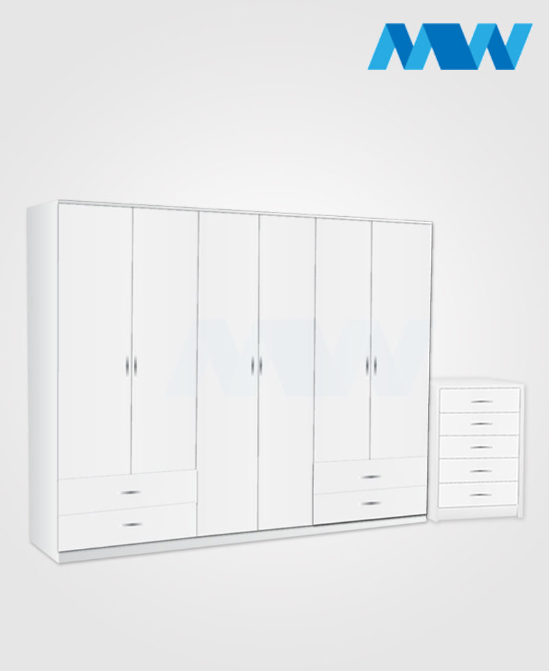 Alliance 2 Piece 6 door wardrobe set with 4 side drawers white