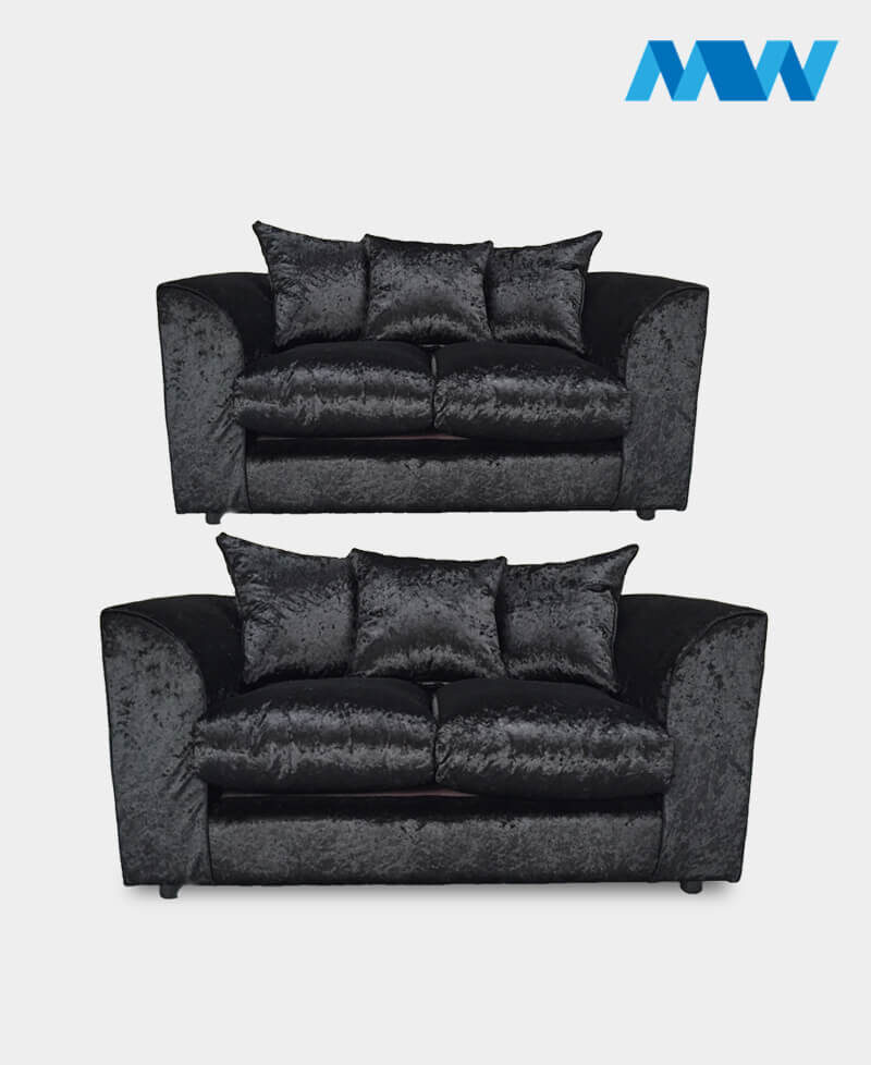 Diana 2+3 Seater Crushed Velvet Sofa Set black