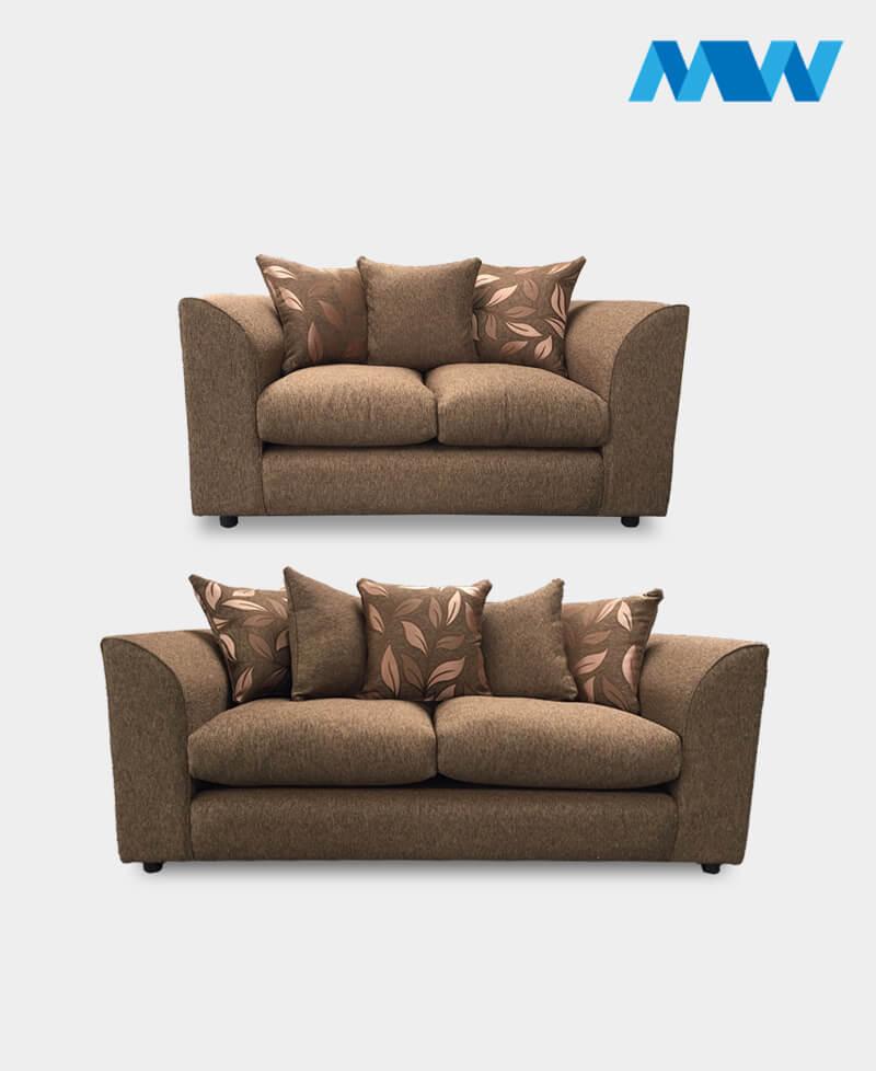 Dianna 2+3 Fabric Sofa Set brown