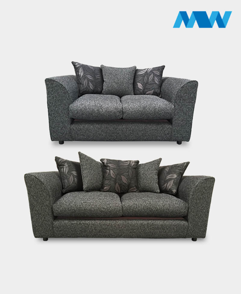Dianna 2+3 Fabric Sofa Set black