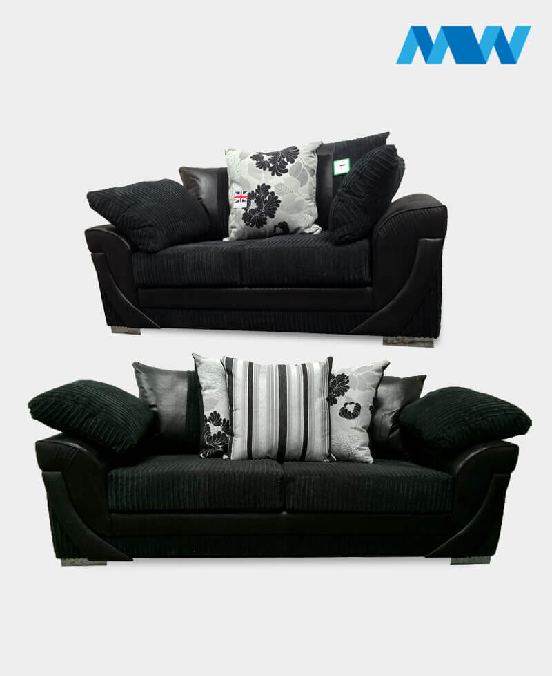 Lush 2+3 fabric Sofa Set black