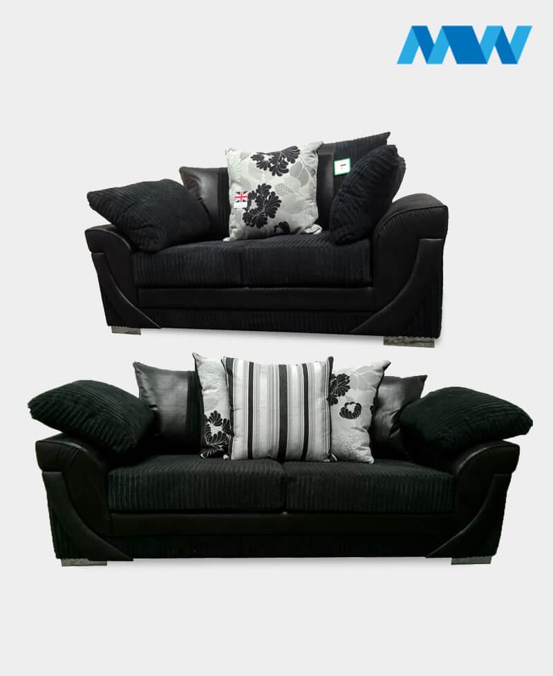 Lush 2+3 fabric Sofa Set black