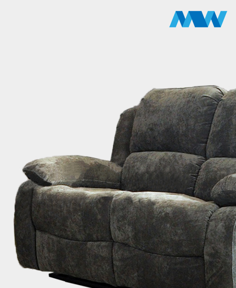 Valencia 2 Seater Leather Recliner Sofa charcoal