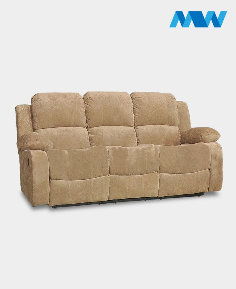 Valencia 3 Seater Leather Recliner Sofa cream