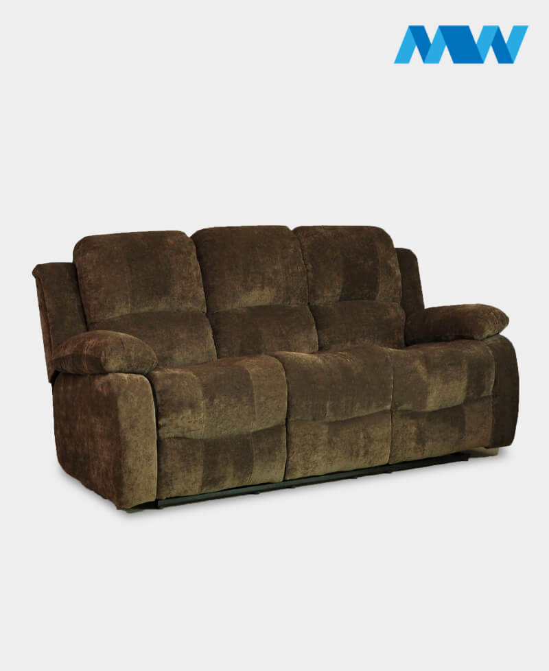 Valencia 3 Seater Leather Recliner Sofa brown